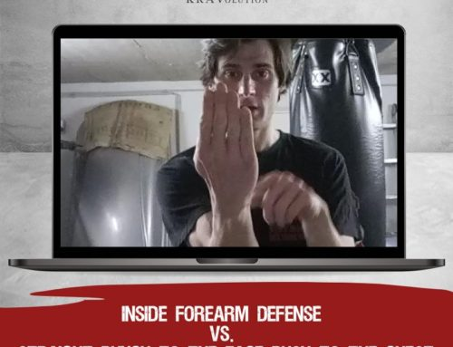 Inside forearm defense vs straight punch to the face/ push to the chest